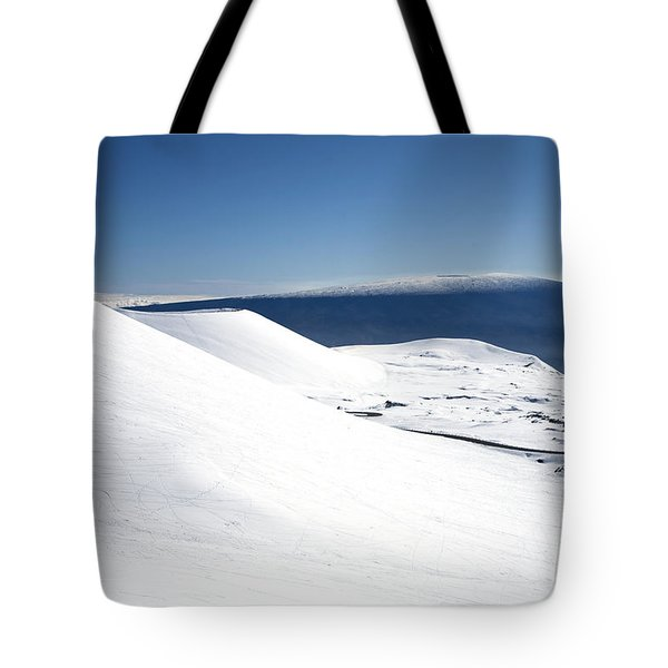 Snowy Mauna Kea Tote Bag by Peter French - Printscapes