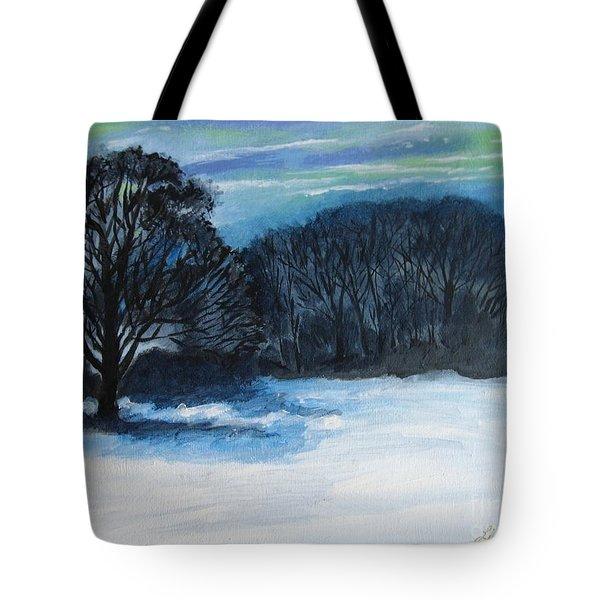 Snowy Moonlight Night Tote Bag