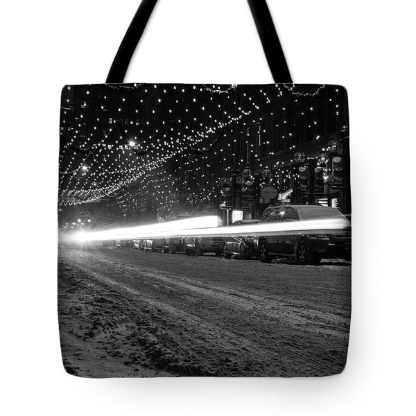Snowy Night Light Trails Tote Bag