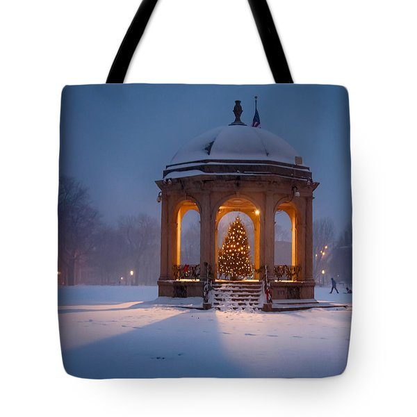 Tote Bag featuring the photograph Snowy Night On The Salem Common by Jeff Folger