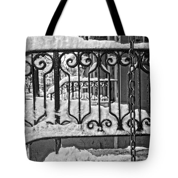 Tote Bag featuring the painting Snowy Nyc Steps by Joan Reese