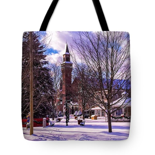 Snowy Old Town Hall Tote Bag