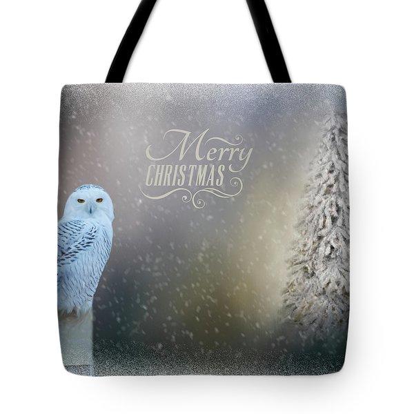 Snowy Owl Christmas Greeting Tote Bag