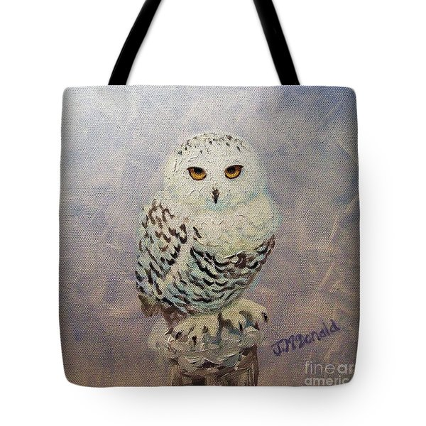 Snowy Owl Tote Bag by Janet McDonald