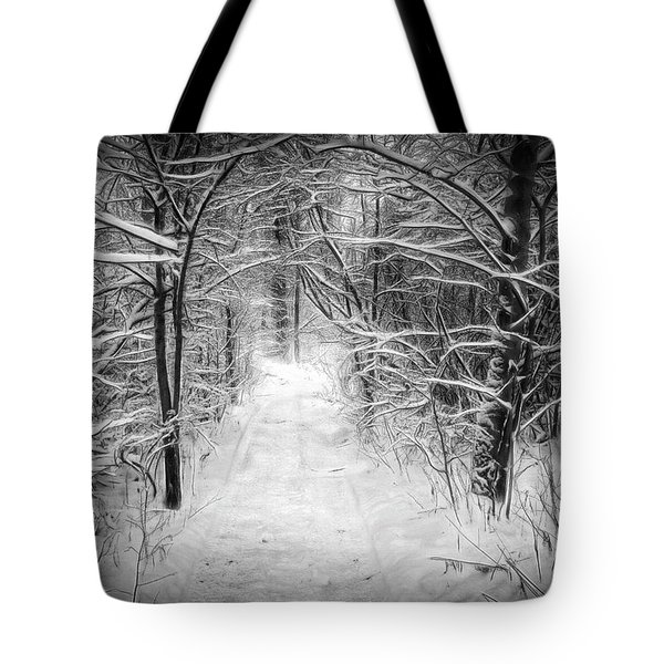 Snowy Path In The Woods Tote Bag