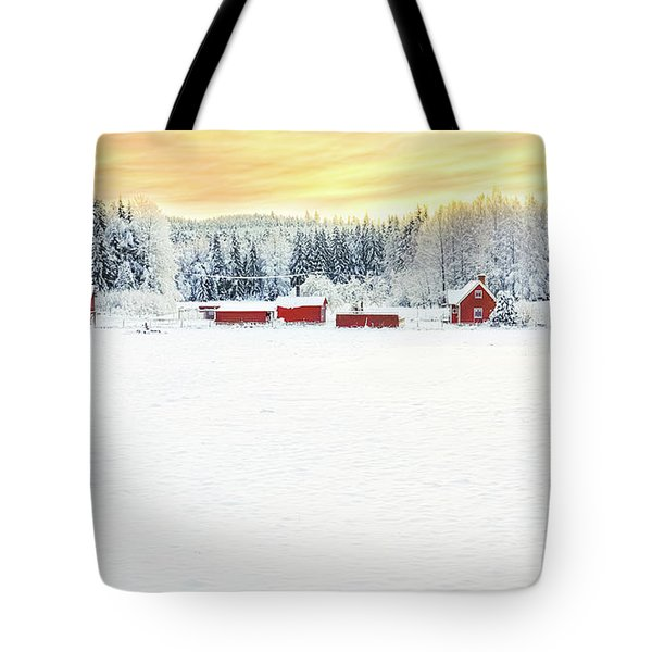 Snowy Ranch At Sunset Tote Bag