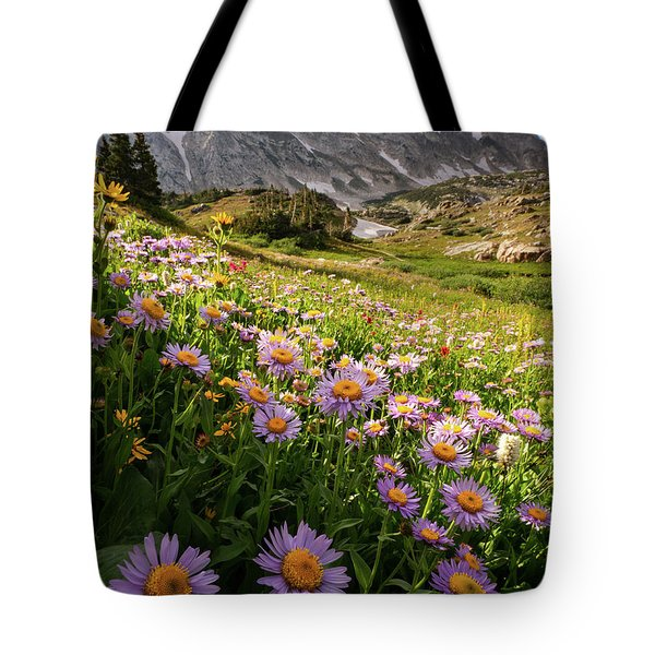 Snowy Range Flowers Tote Bag