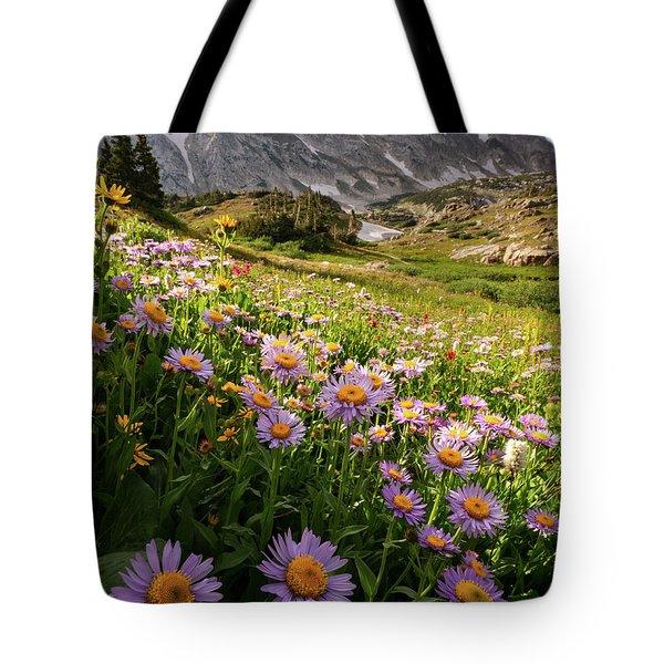 Snowy Range Flowers Tote Bag