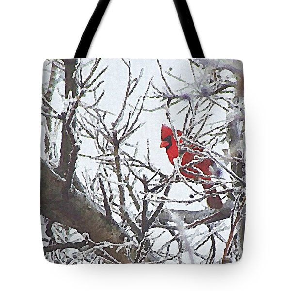 Snowy Red Bird A Cardinal In Winter Tote Bag