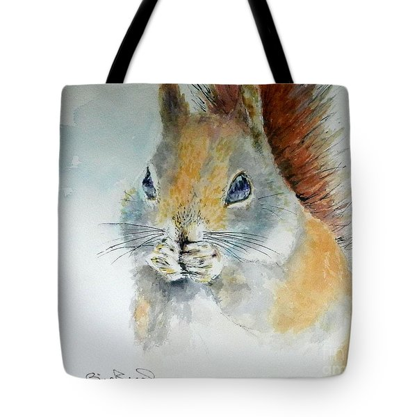Snowy Red Squirrel Tote Bag