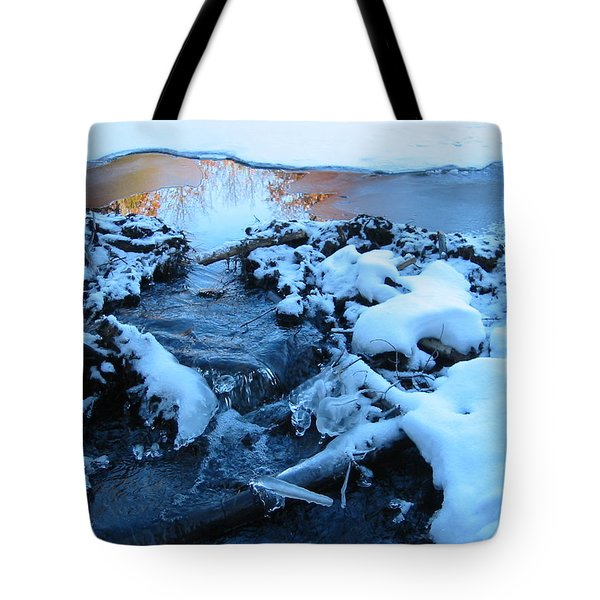 Snowy Reflections Tote Bag by Angela Murray