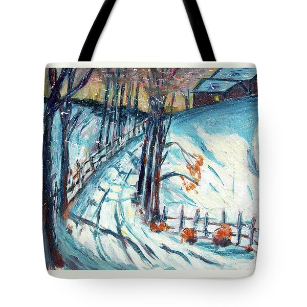 Snowy Road Tote Bag by Carolyn Donnell