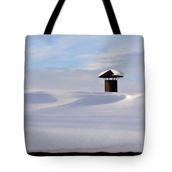 Snowy Roof With Stove Pipe Tote Bag