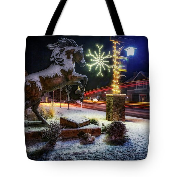 Tote Bag featuring the photograph Snowy Sisters by Cat Connor