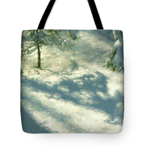 Snowy Spruce Shadows Tote Bag by Clare VanderVeen