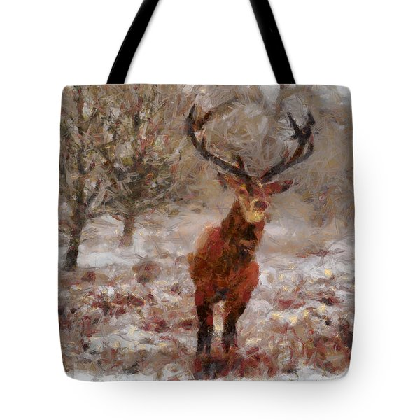 Tote Bag featuring the digital art Snowy Stag by Charmaine Zoe