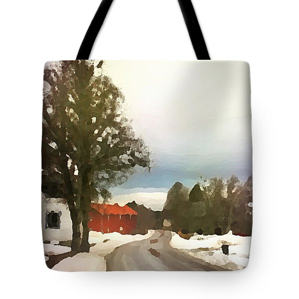 Snowy Street With Red House Tote Bag