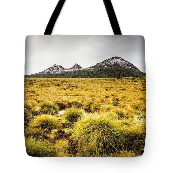 Snowy Tasmania Mountain Top Tote Bag