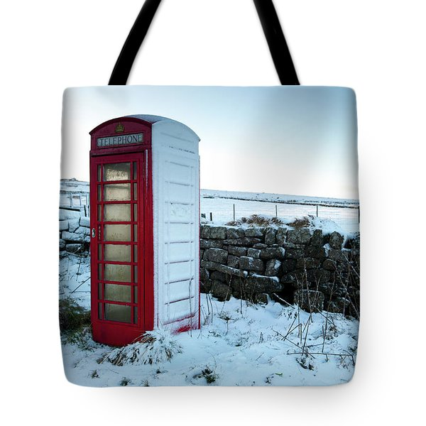 Snowy Telephone Box Tote Bag by Helen Northcott