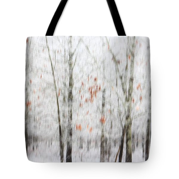 Tote Bag featuring the photograph Snowy Trees Abstract by Benanne Stiens