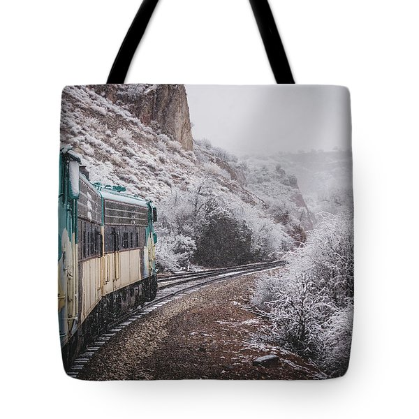 Snowy Verde Canyon Railroad Tote Bag