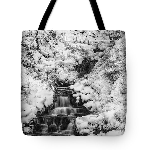 Snowy Waterfall In The Peak District In Derbyshire Tote Bag