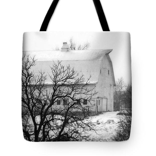 Snowy White Barn Tote Bag