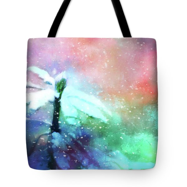 Snowy Winter Abstract Tote Bag