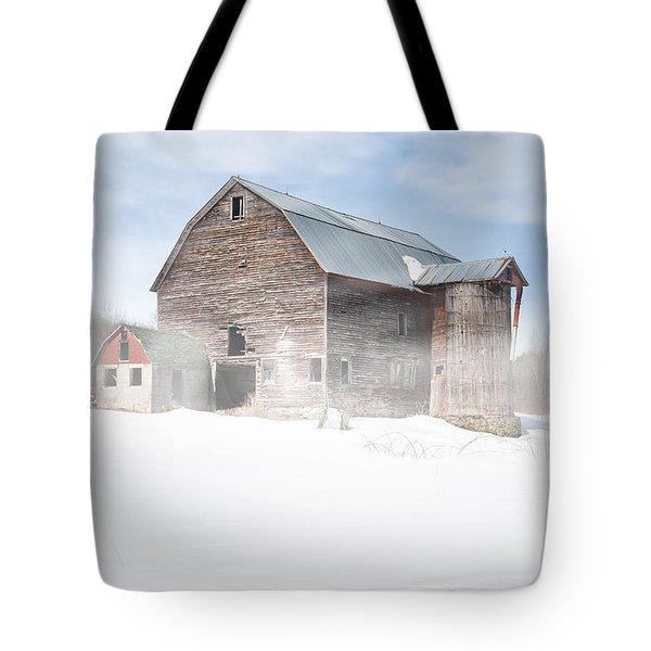 Snowy Winter Barn Tote Bag