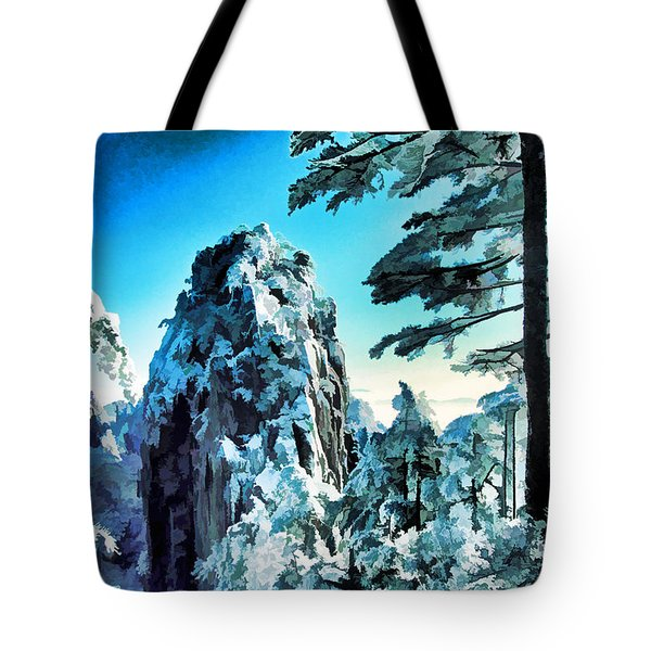 Snowy Yellow Mountain Tote Bag