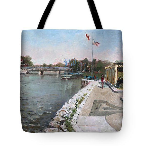 Snug Harbour Restaurant Tote Bag by Ylli Haruni