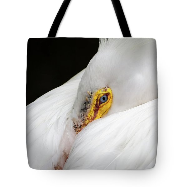 Tote Bag featuring the photograph Snuggled White Pelican by Penny Lisowski