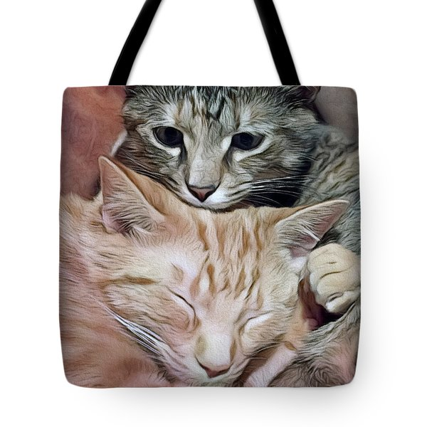 Snuggling Kittens Tote Bag
