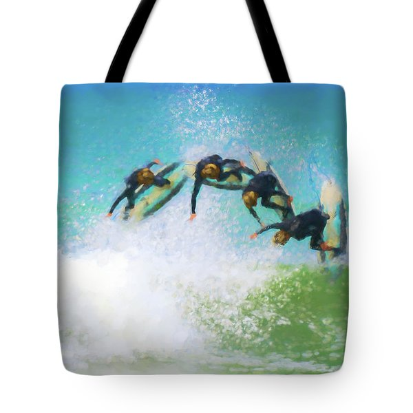 So Close Reverse Stopmotion Surfing Watercolor Tote Bag