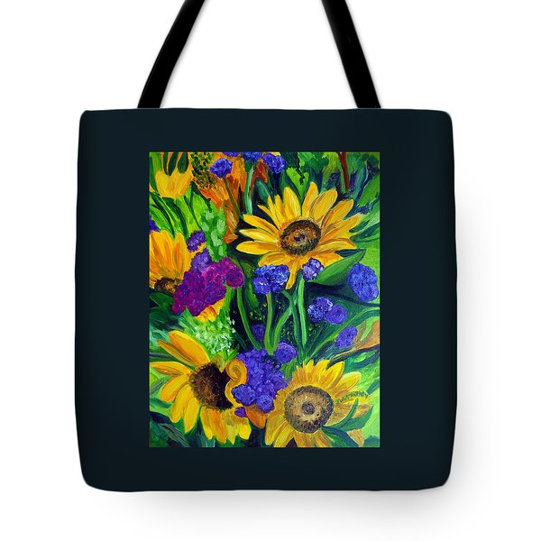 Sunflowers -soaking Up Sunshine Tote Bag by Julie Brugh Riffey