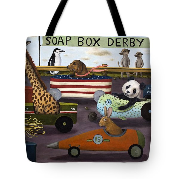 Soap Box Derby Tote Bag by Leah Saulnier The Painting Maniac