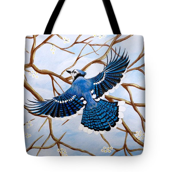 Tote Bag featuring the painting Soaring Blue Jay  by Teresa Wing