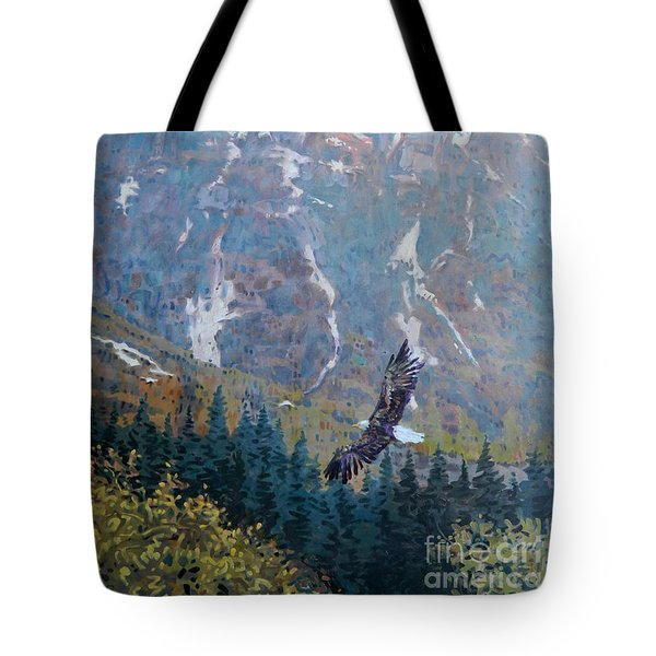 Tote Bag featuring the painting Soaring Eagle by Donald Maier