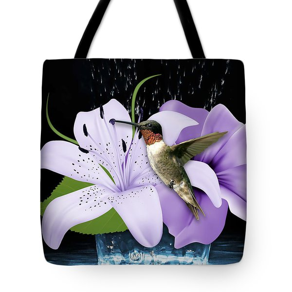 Tote Bag featuring the mixed media Soaring Hummingbird by Marvin Blaine