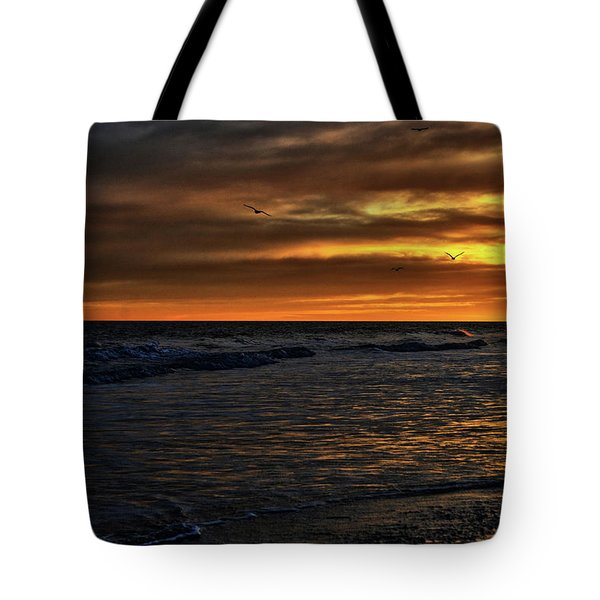 Tote Bag featuring the photograph Soaring In The Sunset by Kelly Reber