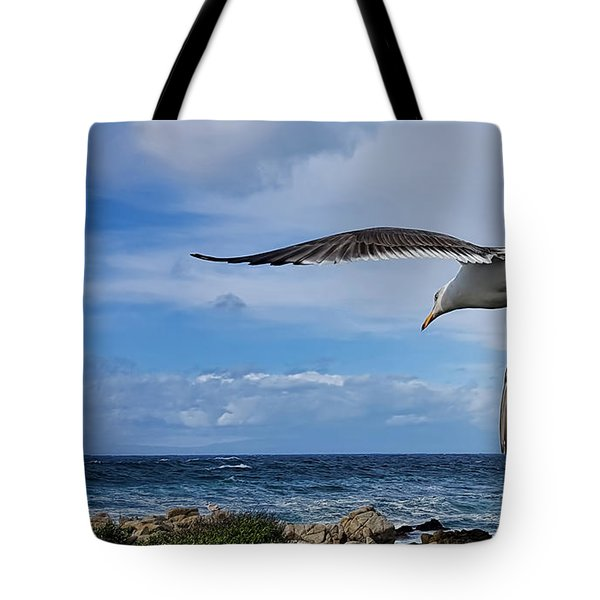 Tote Bag featuring the photograph Soaring Seagull  by Gina Savage