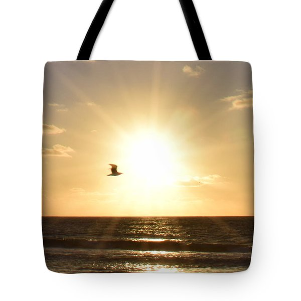 Soaring Seagull Sunset Over Imperial Beach Tote Bag