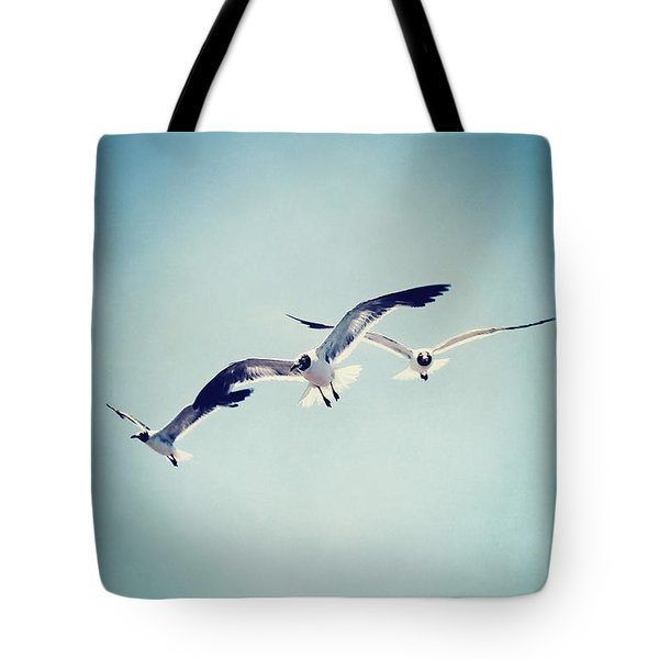 Tote Bag featuring the photograph Soaring Seagulls by Trish Mistric