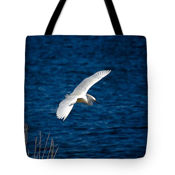 Soaring Snowy Egret  Tote Bag by DigiArt Diaries by Vicky B Fuller