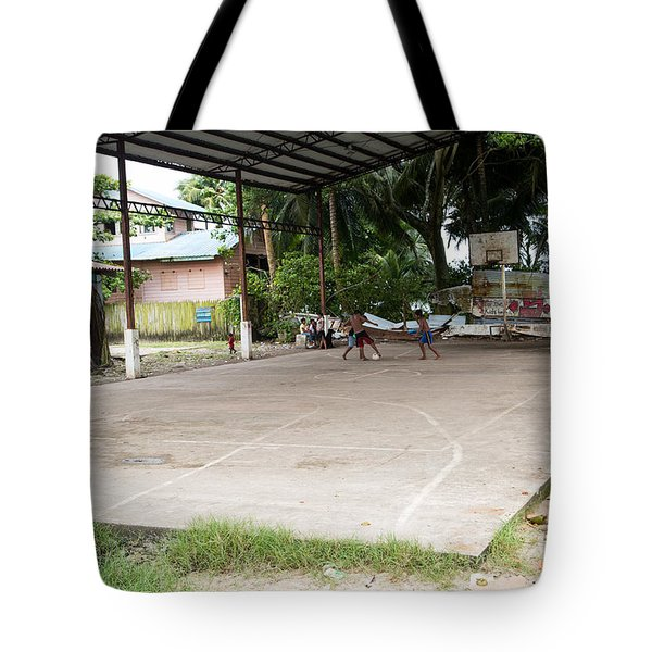 Soccer Court Tote Bag