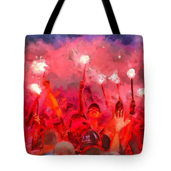 Soccer Fans Pictures Tote Bag