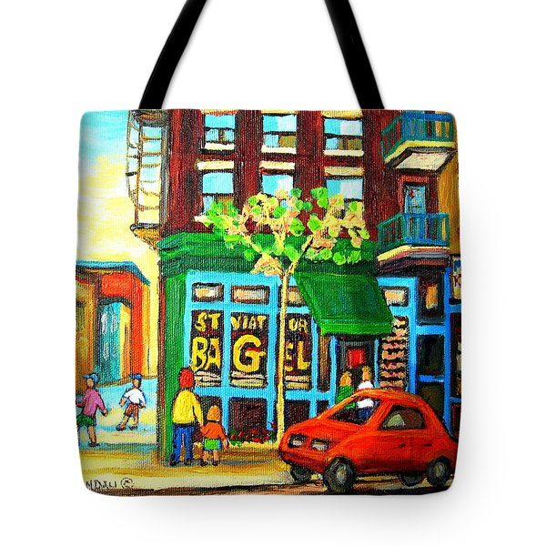 Soccer Game At The Bagel Shop Tote Bag by Carole Spandau