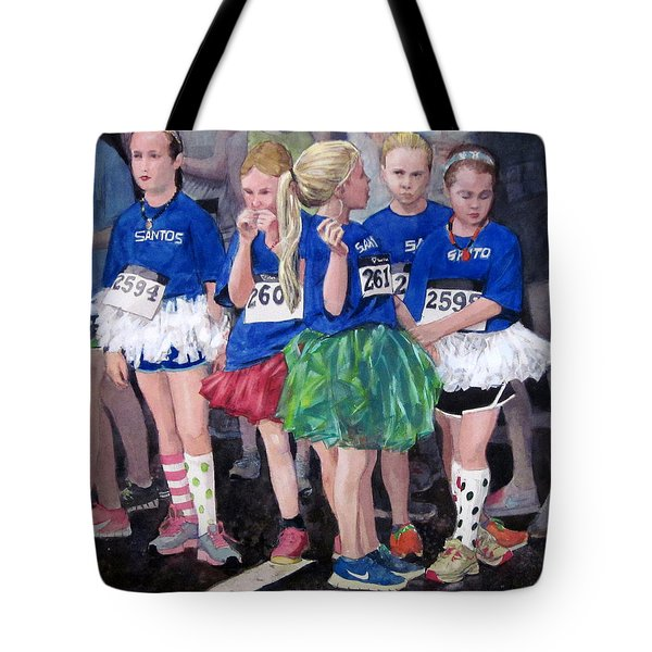 Soccer Girls Tote Bag by Mark Lunde