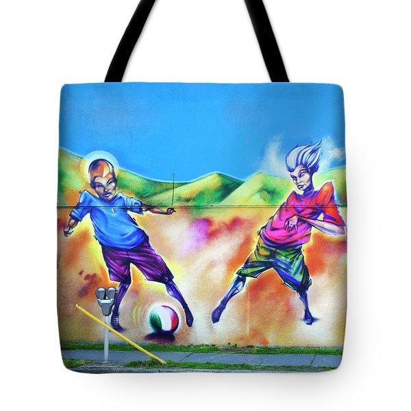 Soccer Graffiti Tote Bag by Theresa Tahara