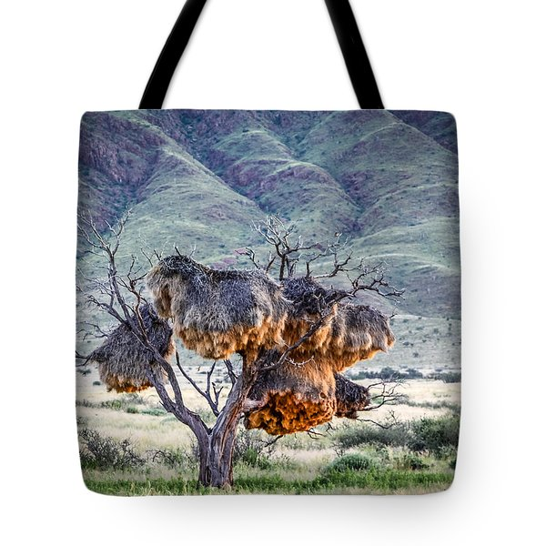 Tote Bag featuring the photograph Social Weaver Nests by Gregory Daley  PPSA